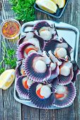 picture of scallops  - scallops with oil and salt on the tray - JPG