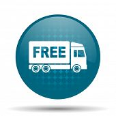 picture of free-trade  - free delivery blue glossy web icon  - JPG