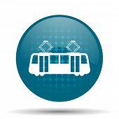 stock photo of tram  - tram blue glossy web icon  - JPG