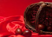 pic of no clothes  - beautiful easter eggs on red cloth closeup - JPG