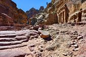 stock photo of petra jordan  - The street in Petra in Jordan - JPG