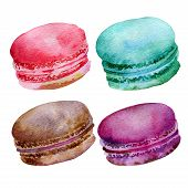 stock photo of french pastry  - Set of bright french pastries macaroons - JPG