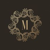 picture of initials  - Simple and elegant monogram design template with letter M on dark background - JPG