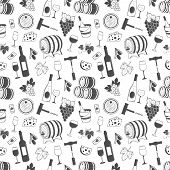 image of wine grapes  - Wine seamless pattern with grapes - JPG