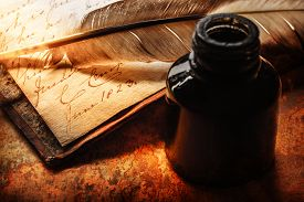 picture of inkpot  - Old book with feather pen and inkpot - JPG