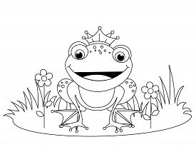 foto of cute frog  - Cute frog prince coloring book page for kindergarten kids - JPG
