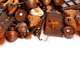 image of bonbon  - Chocolates border isolated on white background - JPG