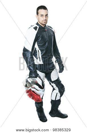 A biker man over a