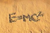 Einsteins Formula Handwriting On The Sand. poster