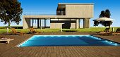 picture of villa  - Modern house with swimming pool in day light - JPG
