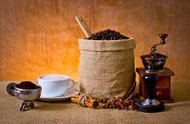 stock photo of coffee grounds  - set of coffee cup of coffee - JPG