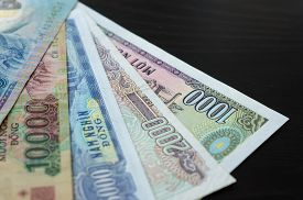 stock photo of dong  - Background from banknotes - JPG