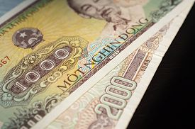 pic of dong  - Banknote in one thousand Vietnamese dong close up - JPG