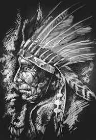 stock photo of indian chief  - Sketch of tattoo art - JPG