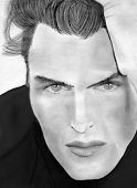 stock photo of hand drawn  - hand drawn pencil sketch of handsome man - JPG