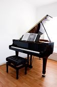 picture of grand piano  - Grand Piano and stool on polished floorboards - JPG