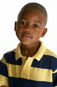 picture of 6 year old  - Adorable 5 year old African American boy against white background - JPG
