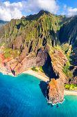 Hawaii beach, Kauai. Na pali coast view from helicopter. Hawaiian travel destinaton. Napali coastlin poster