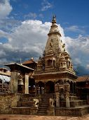 stock photo of hindu temple  - Temple In Bhaktapur Durbar Square Kathmandu Nepal - JPG