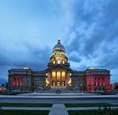 foto of boise  - a night image of the capital building in boise - JPG