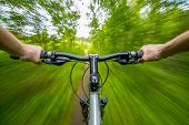 Mountain Biking Down Hill Descending Fast On Bicycle. poster