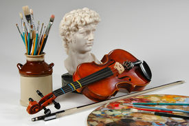 picture of string instrument  - Still life representing the arts in its different manifestations - JPG