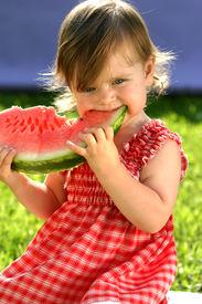 pic of healthy eating girl  - Littele girl in red dress eating watermelon - JPG