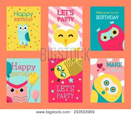 poster of Owl Set Of Birthday Cards Vector Illustration. Welcome To My Birthday. Make A Wish. Cute Cartoon Wis