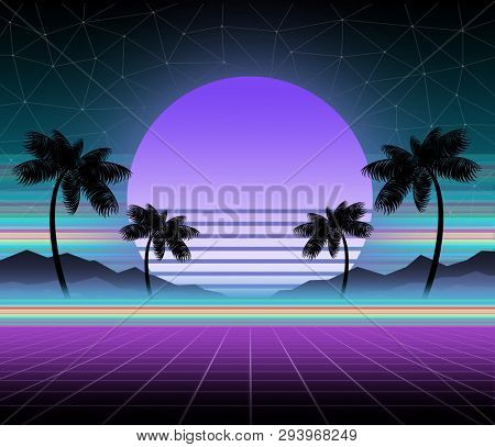 Glowing neon synthwave and retrowave