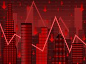 picture of nyse  - Stylized chart using buildings to imply falling wall street stock values - JPG