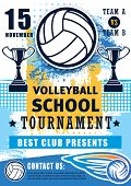 Volleyball Sport Championship Cup And School League Or College Team Match Tournament. Vector Volleyb poster