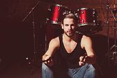 Got Sticks. Man Drummer With Drumsticks Instrument. Handsome Man Sit On Stage At Percussion Instrume poster