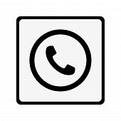 Phone Thin Line Icon. Phone Icon In Circle. Vector Phone Icon. Round Phone Icon. Phone Icon On White poster