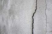 Old Foundation And Plaster Wall With Cracks. Building Requiring Repair Closeup. poster