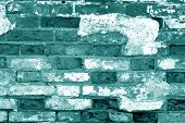 Old Grungy Brick Wall Surface In Cyan Tone. Abstract Architectural Background And Texture For Design poster