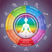 Yoga Chakras Infographics With Meditating Girl Inside Circuit With Horoscope Signs Of Zodiac On Star poster