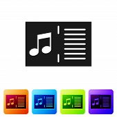 Black Music Book With Note Icon Isolated On White Background. Music Sheet With Note Stave. Notebook  poster