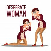 Desperate Woman Vector. Stress Desperate Person. Woman Girl Scream. Anger, Shok. Illustration poster