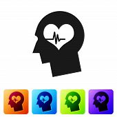 Black Male Head With A Heartbeat Icon Isolated On White Background. Head With Mental Health, Healthc poster