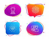 Heartbeat, Artificial Intelligence And Winner Icons Simple Set. Presentation Board Sign. Medical Hea poster