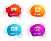 Liquid Badges. Set Of Analytics Chart, Marketing Statistics And Column Diagram Icons. Portfolio Sign poster