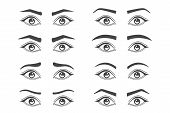 Eyebrow Shaping. Makeup Tips Of Eyebrow. Isolated Set Of Different Shapes Thick Ans Arch, Angle And  poster