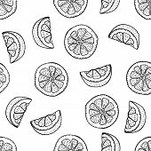 Hand Drawing Lemon Slices In Doodle Style On White Background. Lemon Seamless Pattern Doodle Drawing poster