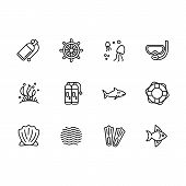 Simple Set Diving, Snorkeling, Swimming, Sailing In Sea Illustration Line Icon. Contains Such Icon E poster