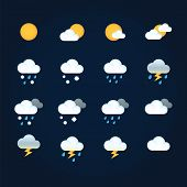 Weather Icons Sun And Clouds In Sky, Rain With Snow, Thunder And Lightning. Flat Illustration Weathe poster