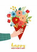 Mothers Day Greeting Card With Flowers Bouquet. Happy Mother Day Floral Banner. Best Mom Poster, Fly poster