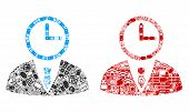 Time Manager Mosaic Icons Designed For Bigdata Illustrations. Vector Time Manager Mosaics Are United poster