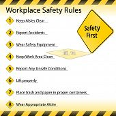 image of workplace accident  - An image of a workplace safety rules chart - JPG