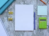 Home Office Workspace Mockup.workspace Top View, Copy Space.white Desk Office With Blank Notebook,pe poster