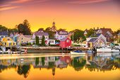 Portsmouth, New Hampshire, USA townscape at dusk. poster